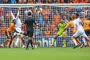 Hull's Chuba Akpom is fouled for a penalty during the Sky Bet Championship match between Wolverhampton Wanderers and Hull City at Molineux, Wolverhampton, England on 16 August 2015. Photo by Shane Healey.