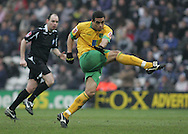 Preston - Saturday February 14th, 2009: Darel Russell of Norwich City gets a shot away during the match against Preston North End Coca Cola Championship match at Deepdale, Preston. (Pic by Michael Sedgwick/Focus Images)