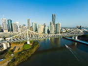 Aerial photograph of the Story Bridge spanning the Brisbane River, Brisbane, Queensland, Australia
