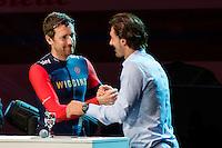 "GENT, BELGIUM, NOVEMBER 12: Fabian Cancellara and Bradley Wiggins pictured during ""Ciao Fabian"". An event to honour Fabian Cancellara's carreer. In Kuipke, Gent, Belgium on Saturday, november 12 2016 *** © Gregory Van Gansen***"