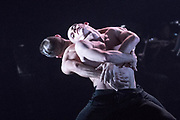 BalletBoyz return to Sadler's Well's Theatre, London, with four new works playing with the concept of balance and imbalance. Choreographers Javier de Frutos, Craig Revel Horwood, Iván Pérez  and Christopher Wheeldon have produced new works, which are followed by the return of Fallen by Russell Maliphant. Picture features Us, by Christopher Wheeldon featuring dancers Jordan Robson and Bradley Waller. © Tony Nandi 2017