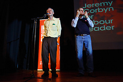 © Licensed to London News Pictures. 03/08/2015. London, UK. Labour Party leader candidate Jeremy Corbyn holding a rally and speaking alongside former Mayor of London Ken Livingstone and writer Owen Jones at Camden Centre in London on Monday, August 3, 2015. Photo credit: Tolga Akmen/LNP