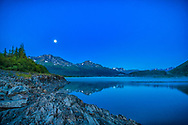 Moonrise over Cooper Lake, summer, early morning
