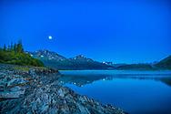 Moonrise over Cooper Lake, summer, early morning