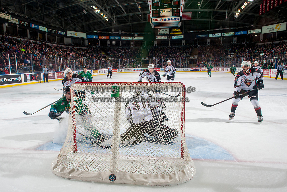 KELOWNA, CANADA - MARCH 18: Trent Miner #31 of the Vancouver Giants makes a first period save on a break away shot by Dillon Dube #19 of the Kelowna Rockets  on March 1, 2018 at Prospera Place in Kelowna, British Columbia, Canada.  (Photo by Marissa Baecker/Shoot the Breeze)  *** Local Caption ***