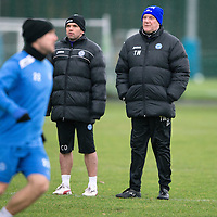St Johnstone manager Tommy Wright and assistant manager Callum Davidson pictured during training this morning ahead of Saturday's League Cup semi-final against Aberdeen...28.01.14<br /> Picture by Graeme Hart.<br /> Copyright Perthshire Picture Agency<br /> Tel: 01738 623350  Mobile: 07990 594431