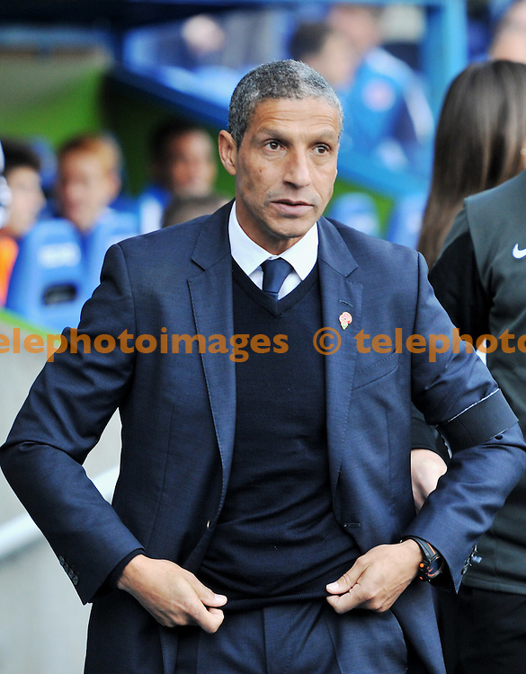 Brighton manager Chris Hughton during the Sky Bet Championship match between Reading and Brighton and Hove Albion at the Madejski Stadium in Reading. October 31, 2015.<br /> Simon  Dack / Telephoto Images<br /> +44 7967 642437