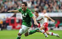 FUSSBALL   1. BUNDESLIGA   SAISON 2012/2013   4. SPIELTAG SV Werder Bremen - VfB Stuttgart                         23.09.2012        Zlatko Junuzovic (SV Werder Bremen)  bejubelt seinen Treffer zum 2:0