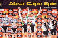 GREYTON, SOUTH AFRICA - Bart Brentjens, Chris jongewaard, Burry Stander, Christoph Sauser, Emil Lindgren and Andreas Kugler on the podium during stage five , 5 , of the Absa Cape Epic Mountain Bike Stage Race held between Greyton and Oak Valley ( Elgin / Grabouw ) on the 26 March 2009 in the Western Cape, South Africa..Photo by Nick Muzik  /SPORTZPICS