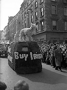 """17/03/1954<br /> 03/17/1954<br /> 17 March 1954<br /> St. Patrick's Day Industrial Parade, Dublin. """"Buy Irish"""" float on Westmoreland Street."""