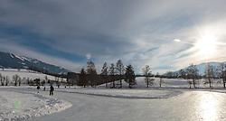 THEMENBILD - der zugefrorene Ritzensee, aufgenommen am 01. März 2018, Ort, Österreich // the frozen Ritzensee on 2018/03/01, Saalfelden, Austria. EXPA Pictures © 2018, PhotoCredit: EXPA/ Stefanie Oberhauser