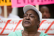 Sharon Jasper and 12 other people in front of the Hale Boggs Federal Building and United States Court House in New Orleans, LA spoke to the news media about demolition of public housing and other issues concerning Housing and Urban Development, Housing Authority New Orleans, and lead developers, on Apr 2, 2008. Jasper was a resident of the St. Bernard Housing Development. The group promotes solutions through participation and majority-control by the development residents; employment of residents; on-site education; on-site health-care; and non-exploitive ownership.  Lance Cheung/PhotoShelter
