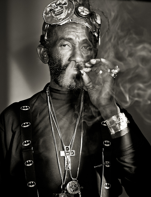 Lee Scratch Perry, legendary musician and reggae producer, photographed at Island Records for Zig Zag Magazine
