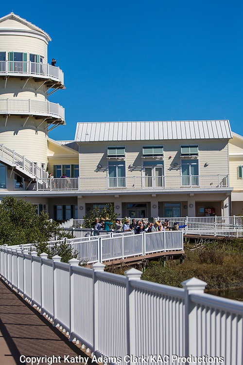 The South Padre Island Birding Nature Center gives visitors a chance to tour gardens filled with native plants, walk on boardwalks over the marsh, and attend events inside the three story facility.