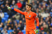 Kepa Arrizabalaga (1) of Chelsea points during the Premier League match between Cardiff City and Chelsea at the Cardiff City Stadium, Cardiff, Wales on 31 March 2019.