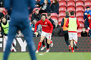 Middlesbrough defender George Friend (3)  warming up during the EFL Sky Bet Championship match between Middlesbrough and Ipswich Town at the Riverside Stadium, Middlesbrough, England on 29 December 2018.
