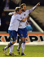 Fotball<br /> England<br /> Foto: Colorsport/Digitalsport<br /> NORWAY ONLY<br /> <br /> Andy Monkhouse (Hartlepool United) celebrates his late goal<br /> Hartlepool United vs Leicester City at Victoria Park Hartlepool Football League one<br /> 17/02/2009