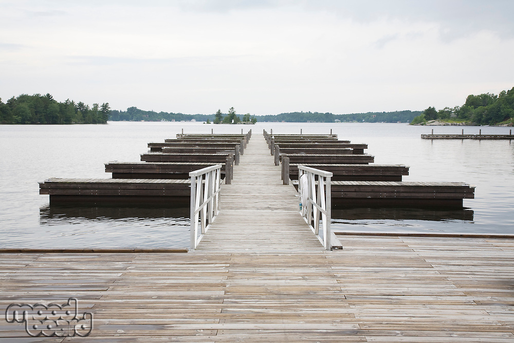 Jetty in lake absence
