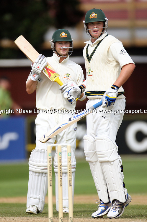 Australian batsmen Michael Clarke and Marcus North.<br /> 1st cricket test match - New Zealand Black Caps v Australia, day two at the Basin Reserve, Wellington.Saturday, 20 March 2010. Photo: Dave Lintott/PHOTOSPORT