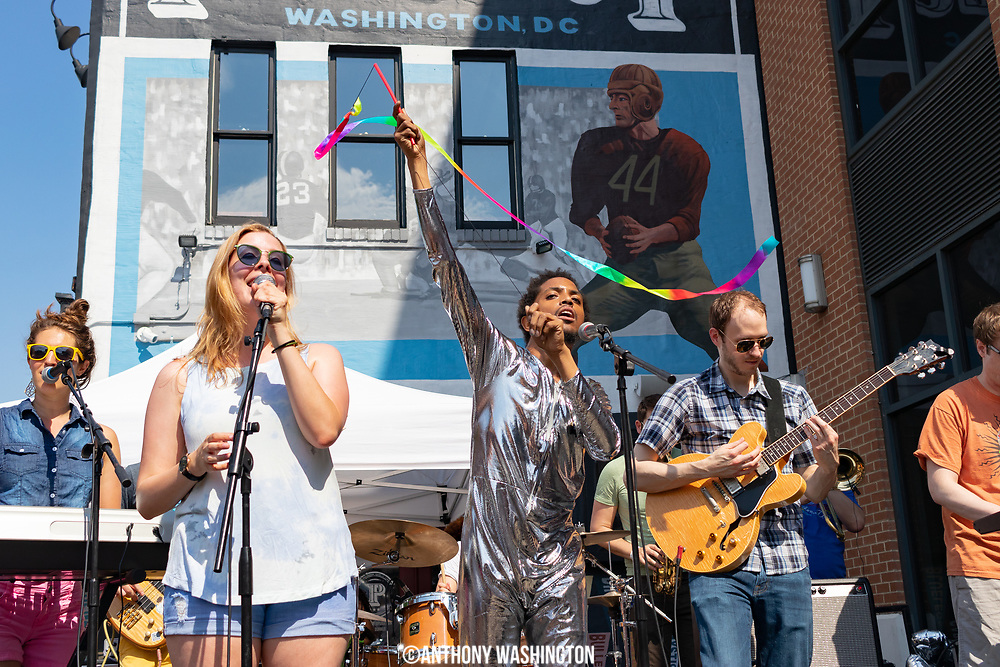 The band allthebestkids perform during Funk Parade 2018 in Washington, DC on Saturday, May 12. 2018.