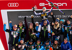 3rd placed HROVAT Meta of Slovenia and her team celebrate at Trophy ceremony after the 2nd Run during the Ladies' GiantSlalom at 56th Golden Fox event at Audi FIS Ski World Cup 2019/20, on February 15, 2020 in Podkoren, Kranjska Gora, Slovenia. Photo by Matic Ritonja / Sportida