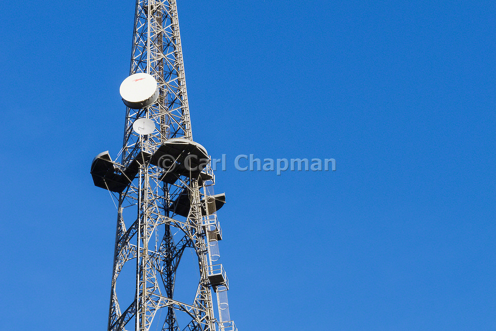 Microwave antenna on television broadcast lattice tower used for tv transmission at Mt Coot-tha, Brisbane, Queensland, Australia