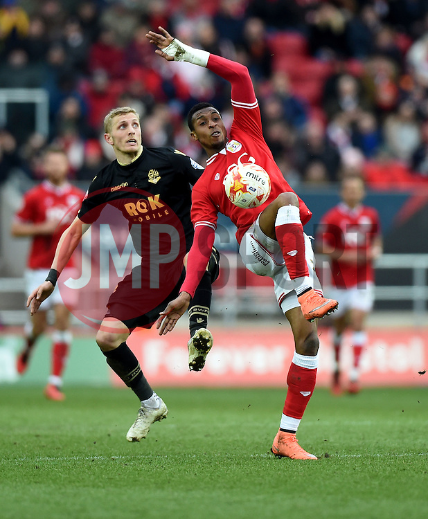Jonathan Kodjia of Bristol City battles for the high ball  - Mandatory byline: Joe Meredith/JMP - 19/03/2016 - FOOTBALL - Ashton Gate - Bristol, England - Bristol City v Bolton Wanderers - Sky Bet Championship