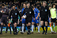 Photo: Richard Lane.<br />Chelsea v Barcelona. UEFA Champions League. 22/02/2006.<br />NMorwegian officials, Ole Hermann Borgan (L), Referee, Terje Hauge (C) and .
