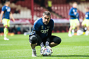 Derby County (1) Scott Carson  during the warm up at EFL Sky Bet Championship match between Brentford and Derby County at Griffin Park, London, England on 26 September 2017. Photo by Sebastian Frej.