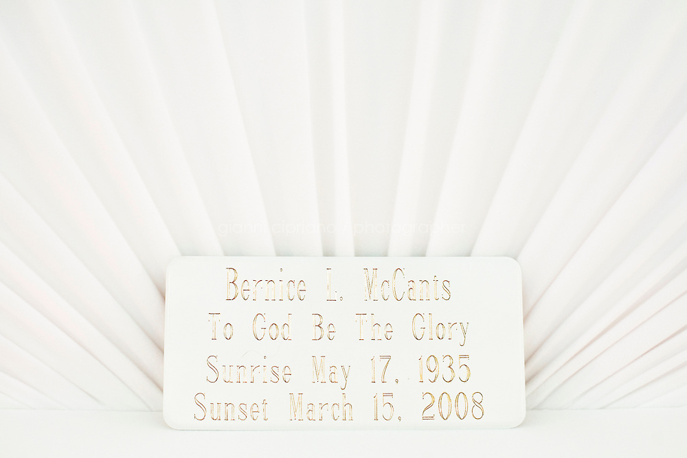 Harlem, New York, USA - March 20. The plate of the deceased Bernice McCants, 72 years old, is here in her casket on March 20, 2008 in Harlem, New York, USA.