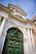Winged lion above the entrance to the Arsenal, Venice, Veneto, Italy