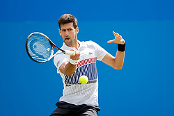 Aegon International 2017- Eastbourne - England - ATP Men's Singles Final. Novak Djokovic of Serbia in action playing single handed forehand against Gael Monfils of France. Saturday, 1st July, 2017 - Devonshire Park.<br /> (Photo by Nick Walker/Sport Picture Library)