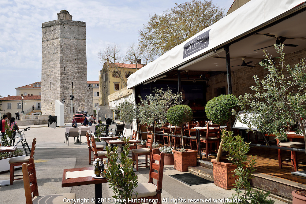 Pet Bunara restaurant at Pet Bunara Square in Zadar, Croatia in April 2015.
