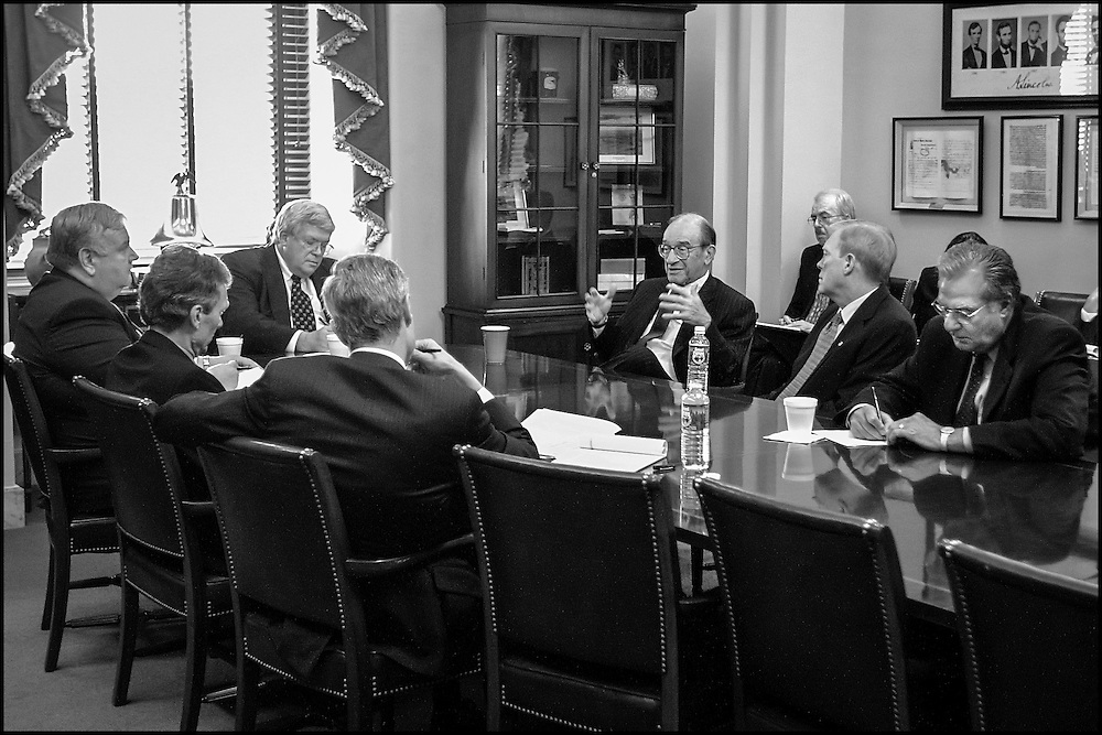 Alan Greenspan talks to Congressional Leaders with Lawrence Lindsey (extreme left) Robert Rubin (back to camera) in Speaker Hastert's office.  10/3/01..©PF BENTLEY/PFPIX.com