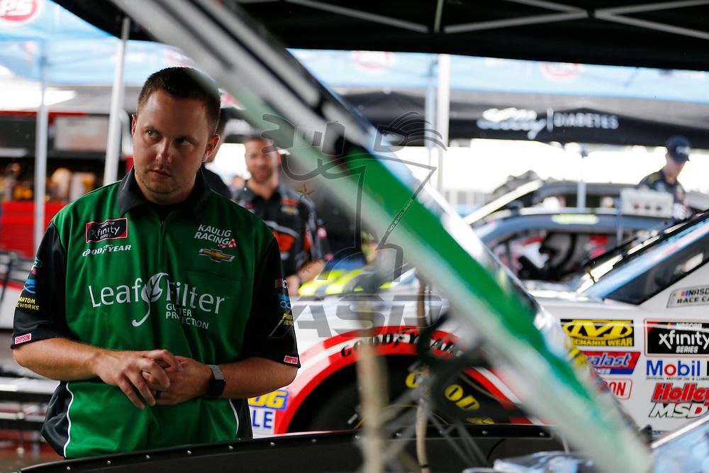 Ryan Truex (11) works in the garage during practice for the Zippo 200 at Watkins Glen International in Watkins Glen, New York.