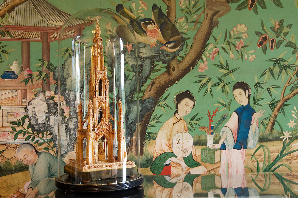 Abbotsford, Sir Walter Scott's home, Scotland. Cork model of Scott's monument and hand painted Chinese wallpaper in Drawing Room
