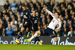 Erik Lamela of Tottenham Hotspur is tackled by Phil Jagielka of Everton - Photo mandatory by-line: Rogan Thomson/JMP - 07966 386802 - 30/11/2014 - SPORT - FOOTBALL - London, England - White Hart Lane - Tottenham Hotspur v Everton - Barclays Premier League.