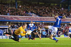 BIRMINGHAM, ENGLAND - Sunday, November 1, 2009: Manchester City's goalkeeper Shay Given saves from Birmingham City's Roger Johnson during the Premiership match at St Andrews. (Pic by David Rawcliffe/Propaganda)