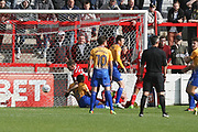 Billy Kee of Accrington Stanley scores a goal in the dying minutes to seal the win during the EFL Sky Bet League 2 match between Accrington Stanley and Mansfield Town at the Fraser Eagle Stadium, Accrington, England on 19 August 2017. Photo by John Potts.