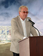 Apr 15, 2019; Inglewood, CA, USA; AECOM construction principal in charger Robert Alylesworth speaks at the LA Stadium & Entertainment District construction site. The site will be the home of the Los Angeles Chargers and the Los Angeles Rams, Super Bowl LVI in 2022, the College Football National Championship in 2023 and the opening and closing ceremonies of the 2028 Olympic Games.