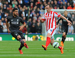 Liverpool's Emre Can's shot is blocked by Stoke City's Charlie Adam- Photo mandatory by-line: Nizaam Jones/JMP - Mobile: 07966 386802 - 24/05/2015 - SPORT - Football - Stoke - Britannia Stadium - Stoke City v Liverpool - Barclays Premier League