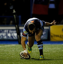 Owen Lane of Cardiff Blues touches down only for the try to be disallowed<br /> <br /> Photographer Simon King/Replay Images<br /> <br /> Guinness PRO14 Round 4 - Cardiff Blues v Munster - Friday 21st September 2018 - Cardiff Arms Park - Cardiff<br /> <br /> World Copyright © Replay Images . All rights reserved. info@replayimages.co.uk - http://replayimages.co.uk