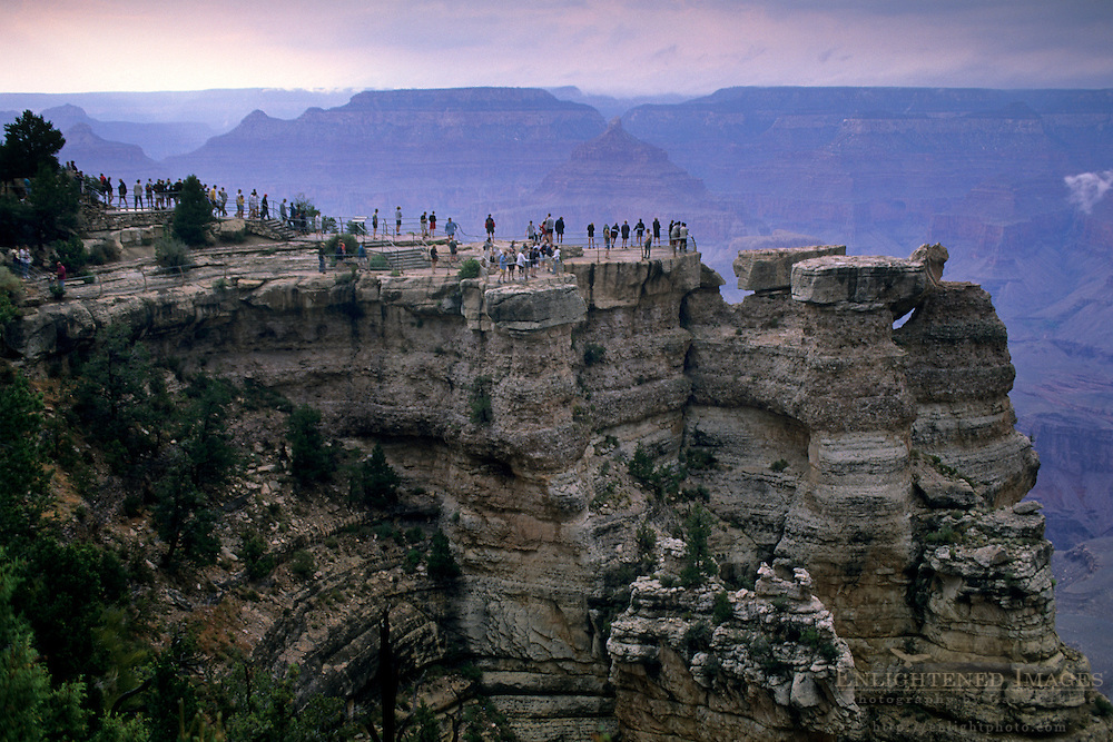 Crowds of tourists at overlook, Mather Point,  Grand Canyon Nat'l. Park, ARIZONA