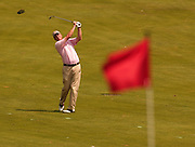 2007 Boyne Tournament of Champions winner Michael Harris of Troy wathes his approach shot on the 16th hole of Boyne Mountains Alpine course.