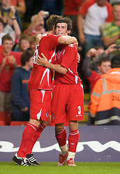 CARDIFF, WALES - Friday, September 5, 2008: Wales' Sam Vokes celebrates scoring a late winning goal against Azerbaijan with team-mate Gareth Bale during the opening 2010 FIFA World Cup South Africa Qualifying Group 4 match at the Millennium Stadium. (Photo by David Rawcliffe/Propaganda)