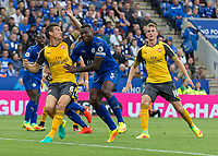 Football - 2016/2017 Premier League - Leicester Ciity V Arsenal. <br /> <br /> Wes Morgan of Leicester City has hold of Laurent Koscielny of Arsenal around the chest as Leicester defend a corner  at The King Power Stadium.<br /> <br /> COLORSPORT/DANIEL BEARHAM