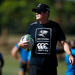 Sean Everitt (Head Coach) of the Cell C Sharks during the Cell C Sharks  training session from theBox Hill Rugby Union Football Club  RHL Sparks Reserve, Canterbury Rd & Middleborough Road, Box Hill VIC 3128. Melbourne,Australia 17 February 2020. (Photo Steve Haag Sports -Hollywoodbets)