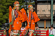 Japan, Kyoto, Imperial Palace, Man wearing traditional Japanese clothing Jidai Matsuri (Festival of Ages)