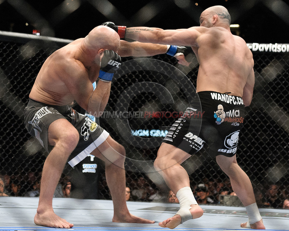 "LAS VEGAS, NEVADA, MAY 24, 2008: Keith Jardine (left) ducks and counters a punch from Wanderlei Silva during ""UFC 84: Ill Will"" inside the MGM Grand Garden Arena in Las Vegas"