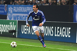 06.11.2012, Veltins Arena, Gelsenkirchen, GER, UEFA CL, Schalke 04 vs FC Arsenal, im Bild Chritian Fuchs ( Schalke 04/ Freisteller ) im Hintergrund ist der Schriftzug Champions League zu sehen // during UEFA Championsleague Match between Schalke 04 and Arsenal FC at the Veltins Arena, Gelsenkirchen, Germany on 2012/11/06. EXPA Pictures © 2012, PhotoCredit: EXPA/ Eibner/ Thomas Thienel..***** ATTENTION - OUT OF GER *****